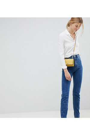 ASOS DESIGN Tall Recycled Farleigh high waisted slim mom jeans in flat blue