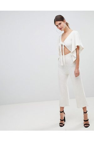 ASOS DESIGN kimono jumpsuit with cut out and tie detail in jersey-Beige