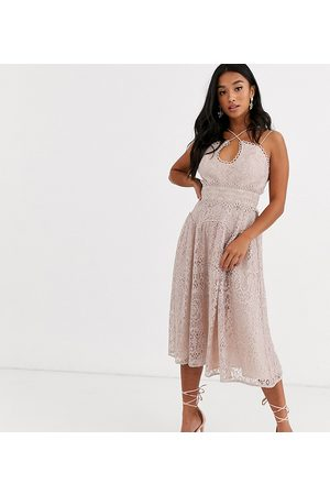 ASOS DESIGN Petite cami strap midi prom dress in lace with circle trims-Multi