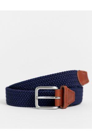 Jack & Jones woven belt with buckle in navy