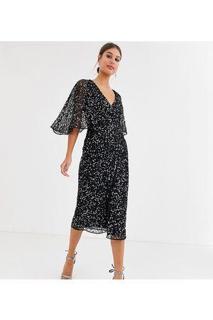 Maya Tall Bridesmaid delicate sequin wrap midi dress in black