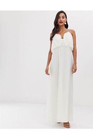 ASOS DESIGN maxi dress with halter neck and blouson bodice-Multi