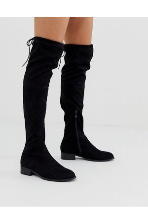 Public Desire Elle flat over the knee boots in black