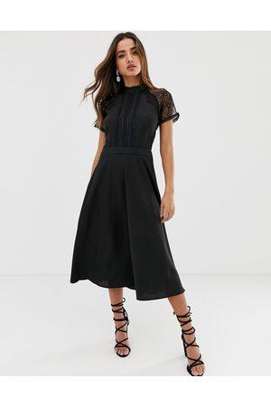 Liquorish a line lace detail midi dress-Black