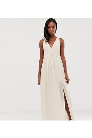 TFNC Tall bridesmaid exclusive pleated maxi dress with back detail in pink