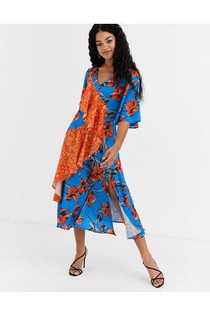Liquorish midi dress in floral with contrast ruffle-Multi