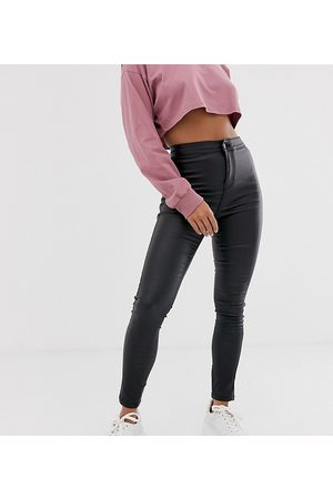 Noisy May Petite coated skinny jeans in black