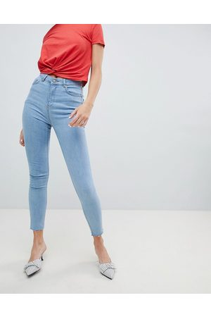 Chorus Raw Hem High Rise Skinny Jeans with Rose Embroidered Pocket-Blue