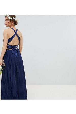 TFNC Petite Pleated Maxi Bridesmaid Dress with Cross Back and Bow Detail-Navy