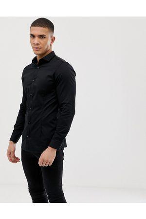 Jack & Jones Premium super slim fit stretch smart shirt in black