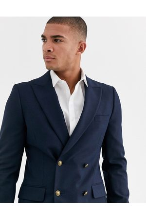 ASOS DESIGN skinny double breasted blazer with gold button in navy