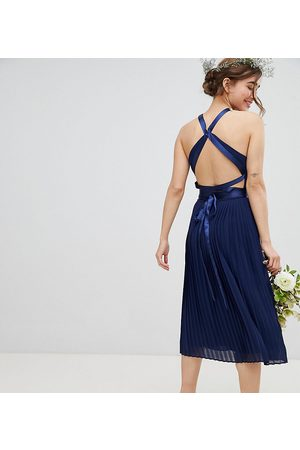 TFNC Petite Pleated Midi Bridesmaid Dress with Cross Back and Bow Detail-Navy