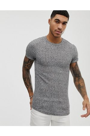 ASOS DESIGN muscle longline t-shirt with curved hem and roll sleeve in interest rib-Grey