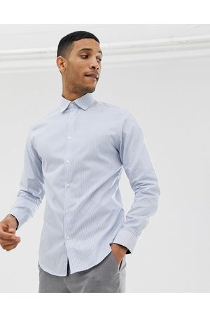 Selected Homme slim fit striped easy iron smart shirt in light blue