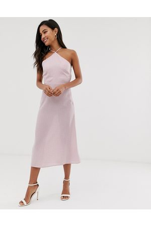Fashion Union midi dress with high halter neck in gingham-Pink