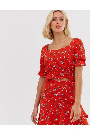 Pieces floral cropped smock top-Red