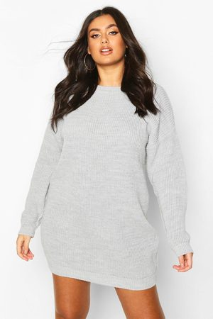 Boohoo Plus Crew Neck Sweater Dress