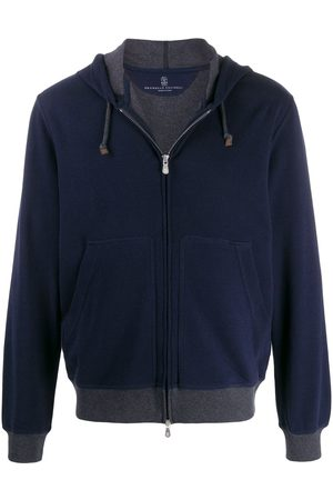 Brunello Cucinelli Men Hoodies - Two tone zip-front hoodie