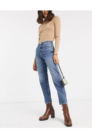 Topshop Editor straight leg jeans in mid wash-Blue