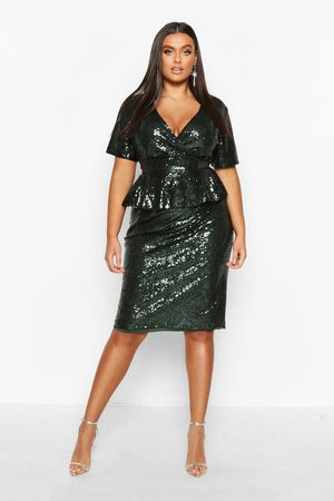 Boohoo Plus Sequin Peplum Wrap Midi Dress- Emerald