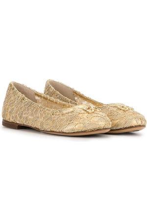 Dolce & Gabbana Crystal-embellished lace ballerina shoes