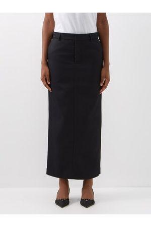 Raey Textured Twill Maxi Skirt - Womens - Navy