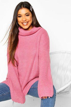 Boohoo Women Sweaters - Turtleneck Oversized Jumper- Antique Rose
