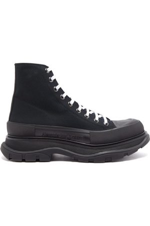 Alexander McQueen Canvas And Leather Boots - Mens