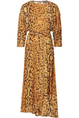 THORNTON BREGAZZI Claudia snake-print midi dress
