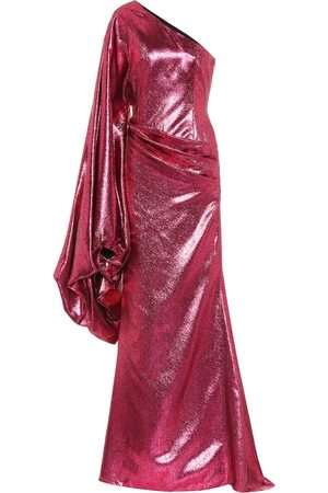 HALPERN Metallic asymmetric gown
