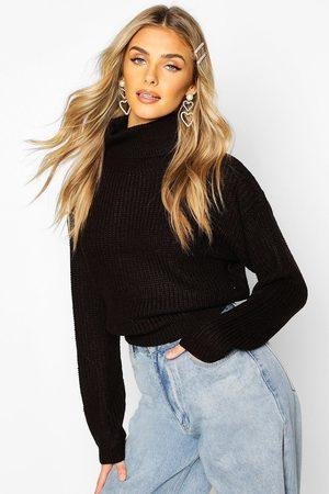 Boohoo Cropped Fisherman Roll Neck Sweater