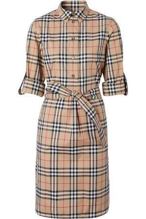 Burberry Women Casual Dresses - Vintage check tie-waist shirt dress