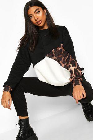 Boohoo Tall Leopard Colour Block Sweat