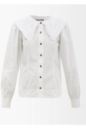 Ganni Women Shirts - Ruffled-collar Cotton-poplin Shirt - Womens