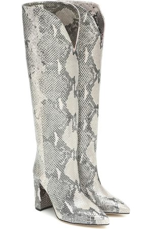 PARIS TEXAS Snake-effect leather knee-high boots