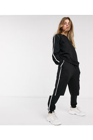 ASOS DESIGN tracksuit sweat / basic jogger with tie with contrast binding in organic cotton-Black