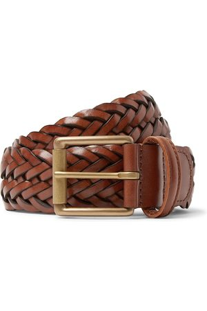 Anderson's Men Belts - 3.5cm Black Woven Leather Belt