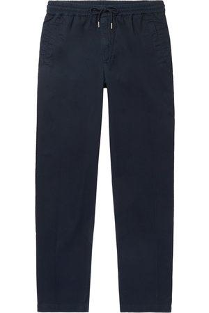 FOLK Men Formal Pants - Tapered Cotton-Twill Drawstring Trousers