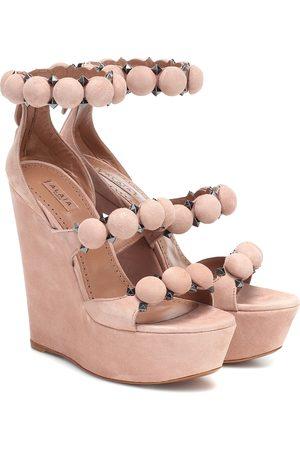 Alaïa Embellished suede wedge sandals
