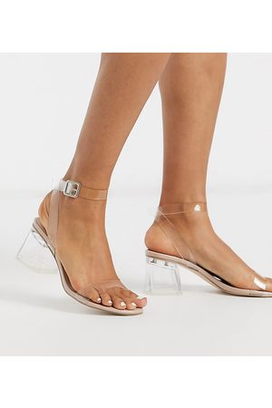 Public Desire Wide Fit Afternoon clear block heeled sandal in beige patent