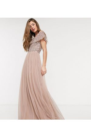 Maya Tall Bridesmaid bardot maxi tulle dress with tonal delicate sequins in taupe blush-Brown
