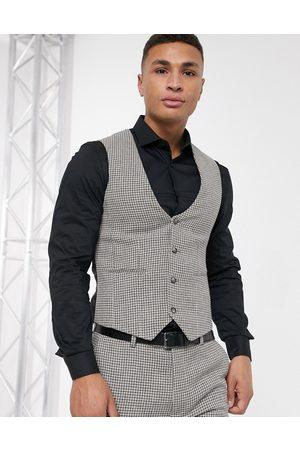Waistcoats - ASOS DESIGN wedding super skinny suit waistcoat in grey wool blend micro houndstooth