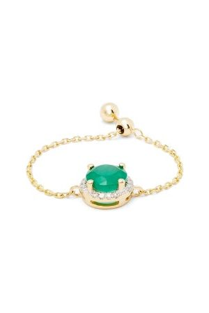 Anissa Kermiche May Diamond, Emerald & 14kt Gold Chain Ring - Womens