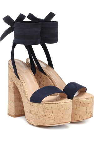 Gianvito Rossi Cork and suede platform sandals