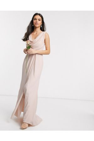 ASOS DESIGN Bridesmaid cowl front maxi dress with button back detail-Pink