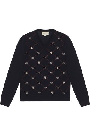 Gucci Men Sweaters - Jacquard-motif V-neck jumper
