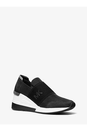 Michael Kors Women Platform Sneakers - Felix Canvas And Snake-Embossed Nubuck Trainer