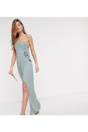 TFNC Tall bridesmaid exclusive bandeau wrap midaxi dress with pleated detail in sage-Green