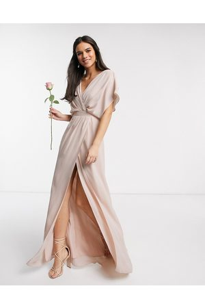 ASOS DESIGN Bridesmaid short sleeved cowl front maxi dress with button back detail-Pink