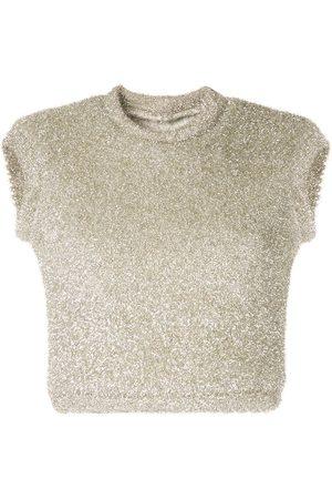 Bambah Metallic knitted crop top